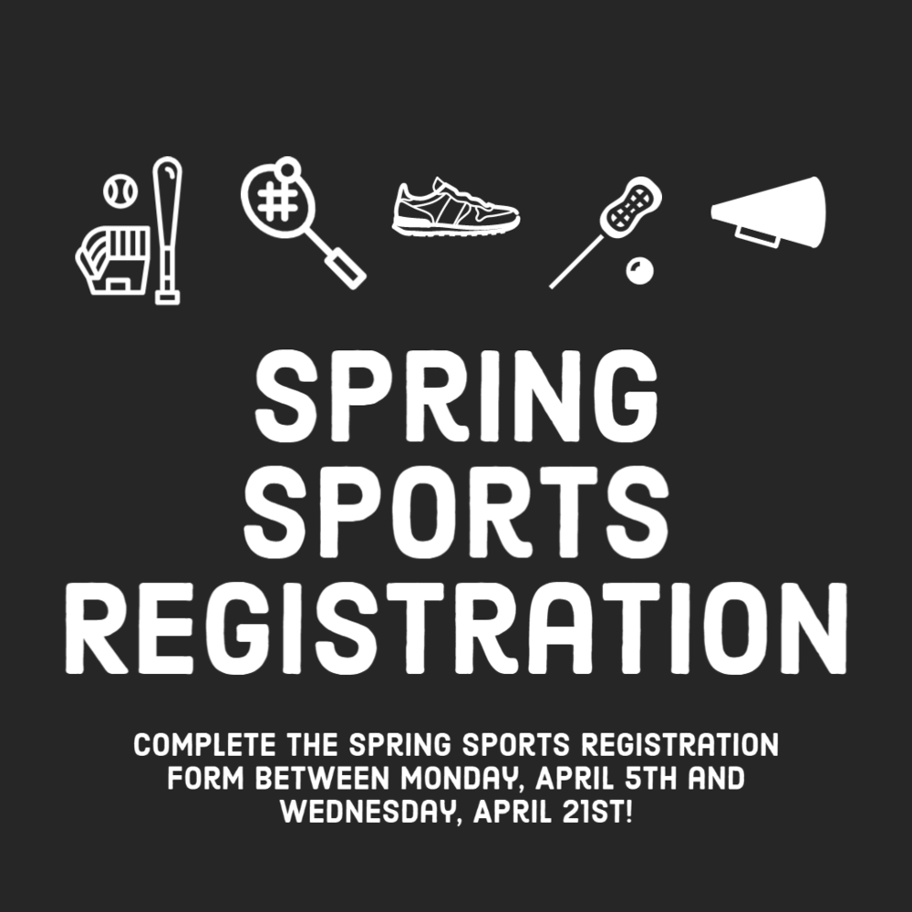 Spring Sports Registrations begin Friday, March 26th!