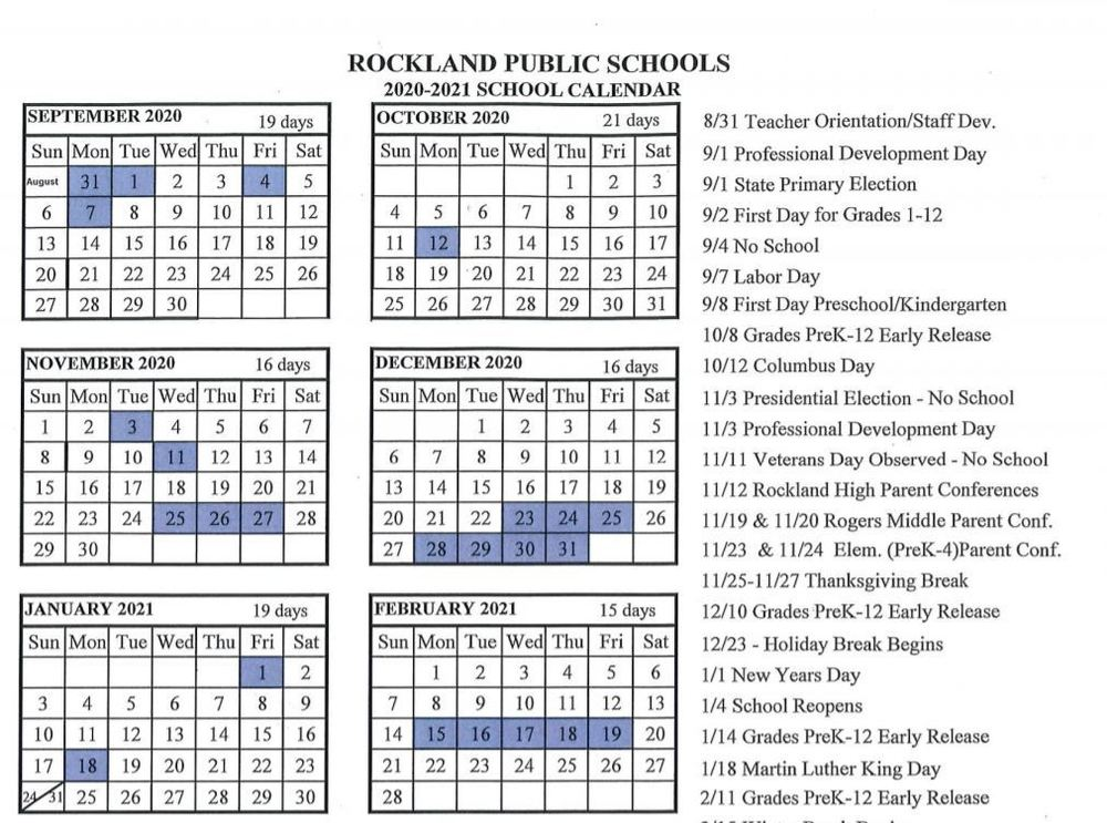 Proposed 2020 - 2021 School Calendar