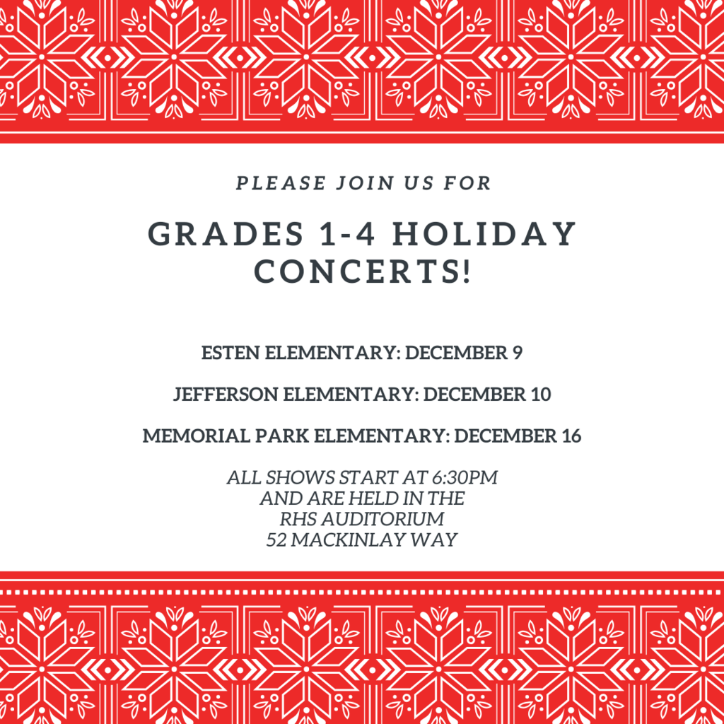 Grades 1-4 Holiday Schedule 2019