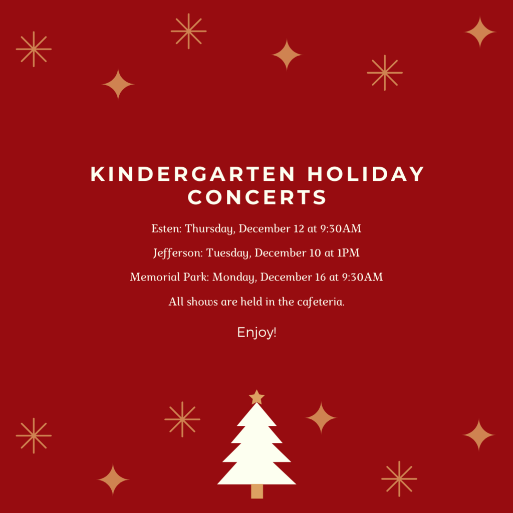 Kindergarten Holiday Concert Schedule 2019